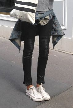 leather pants fashion, converse, outfit, jean jackets, street styles, casual looks, leather leggings, leather pants, black