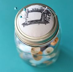 DIY Mason jar pin cushion - The Graphics Fairy