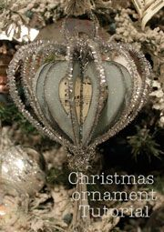 Handmade ornament tutorial - this would be nice to use sheet music for the entire inside heart? Love the look, and the scrunched tinsel added at the end, and hanging crystal, really set it off. From MyDesertCottage - #handmade #Christmas #ornament #paper #crafts #papercrafts #pipe #cleaners #tinsel #sparkly #tutorial #heart - tå√