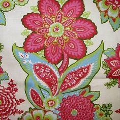 Shalini Ivory Raspberry. Annie Selke fabric 100% Cotton for Drapery, Bedding, Pillows, Table Coverings, Light Use Furniture 36 repeat. 54 wide