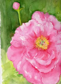Peony Watercolor Painting 11 x 15 original by SharonFosterArt, $55.00