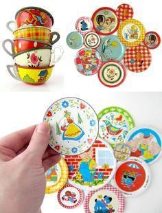 vintage tin dishes