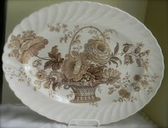 Victorian Basket of Flowers Vintage by English Transferware
