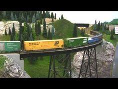 BN HO Scale Layout Model Railroad Train Video - HD JAN 2011