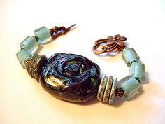 Porcelain Cane Glass Copper and Coconut Bracelet by MereTrinkets, $17.00