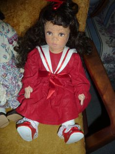 Debbie Richmond ? Felt Lenci doll style RED DRESS CHRISTMAS Carla Thompson ? #DebbieRichmondorCarlaThompson