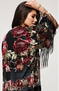 Stone Rose Floral Beaded Fringe Kimono - Black #saltwatergypsy #kimonos