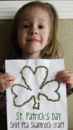 St Patrick's Day Split Pea Shamrock Craft