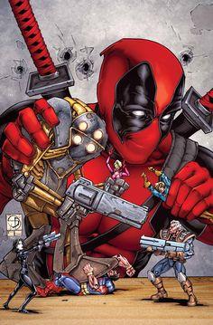Deadpool vs. X-Force by Shane Davis