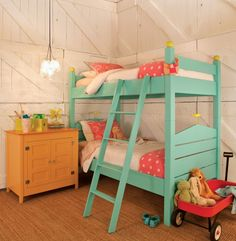 love the colours in this children's bedroom.  the aqua bunk beds especially!