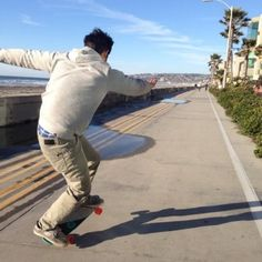 Tyler Posey skateboarding in California.