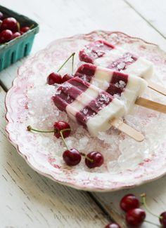 Cherry Popsicles Recipe with Coconut Milk Ice Pops- use non dairy yogurt