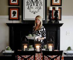 dining rooms, wall decor, decor inspir, dine room, famili room, room decor, monogram, silhouettes, decor idea