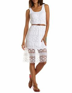 Belted Floral Lace Tank Dress: Charlotte Russe