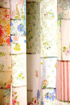 vintage sheet patchwork curtains
