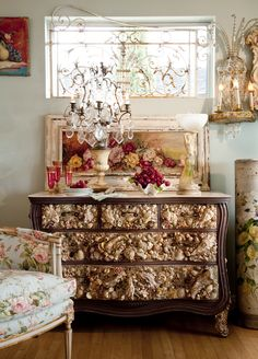 Amazing Antique Grotto Shell Art Dresser