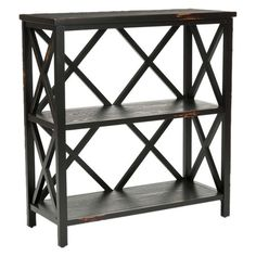 2-tier pine wood bookcase in black with open lattice sides and distressed detailing.   Product: BookcaseConstruction Mat...