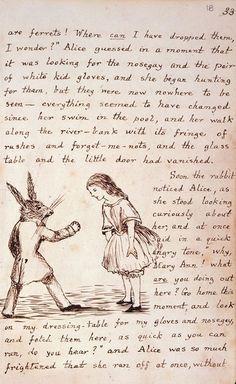lewi carrol, illustrations, alic adventur, handwritten manuscript, alice in wonderland, book pages, librari, reading books, lewis carroll