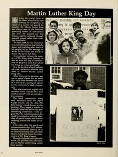 """Spectrum Green yearbook, 1982. """"Martin Luther King Day"""" :: Ohio University Archives"""