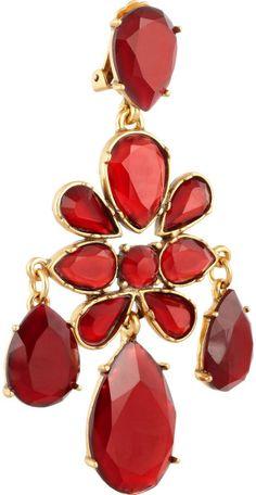 Goldtone Crystal Clip Earrings by Oscar de la Renta