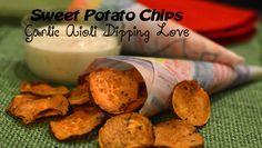Sweet Potato Chips with Garlic Aioli Dipping Sauce