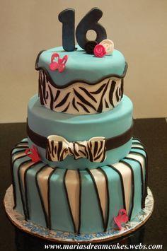 birthday parti, sweet 16 cakes, cake idea, birthday idea, 16th birthday, parti idea, zebra print, 16th cake, birthday cakes