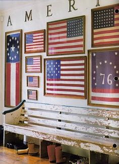 An inspiring wall collage comprised of framed American flags