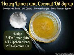 Honey, Lemon & Coconut Oil Syrup for sore throats