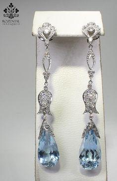beautiful earrings, antique earrings, accessori, beauti earring, aquamarin earring, antiqu edwardian, diamond earrings, something blue, blues
