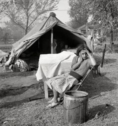 """November 1936. """"Children and home of migratory cotton workers. Migratory camp, southern San Joaquin Valley, California."""""""