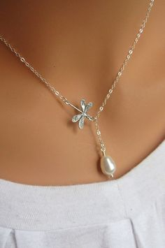 Dragonfly and the pearl sterling silver lariat necklace