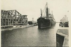 The S.S. Ancon leaves the west chamber of the Gatun upper locks and enters Gatun Lake along the Panama Canal in this August 15, 1914