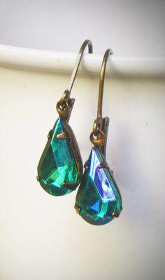 Pear Rhinestone Earrings Simple Emerald Green