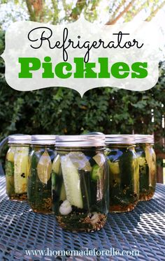 Easy homemade refrigerator pickles recipe     9 cups water     3 cups apple cider vinegar (or white vinegar)     1/4 cup sea salt     3 tbsp peppercorns     3 tbsp mustard seeds     3 tbsp coriander seeds     fresh dill weed     12 bay leaves     24 garlic cloves, peeled     5 large cucumbers or 20 mini cucumbers     3 jalapenos, sliced     6 pint-sized mason jars
