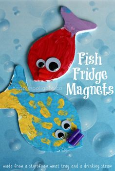 fish fridge magnets (so easy!  Styrofoam meat tray and a drinking straw) - happy hooligans