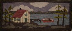 On the Bay II 16x38 Hooked by Elaine McLaughlin - Martina Lesar -