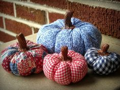 Stuffed red, white & blue pumpkins