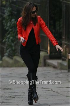 Myleene Klass orange quilted leather jacket Myleene Klass for Very