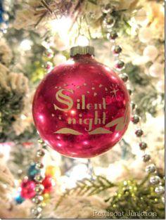 Silent night, Shiny Brite Christmas ornament