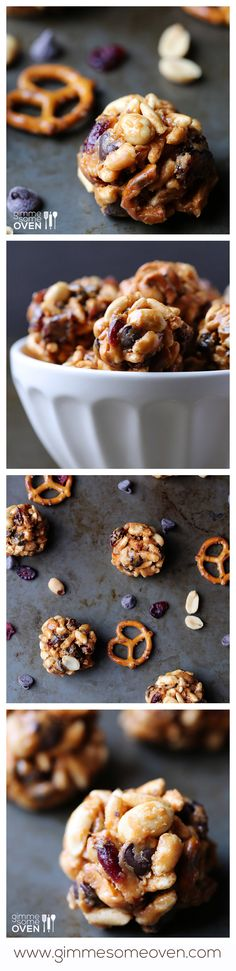 Trail Mix Energy Bites -- full of protein and lots of your favorite trail mix ingredients! | gimmesomeoven.com