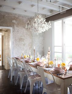 white tolix w farm table Dining Rooms, Interior, Dine Room, Farmhouse Table, Shabby Chic, Chairs, Metals, Chandeliers, White