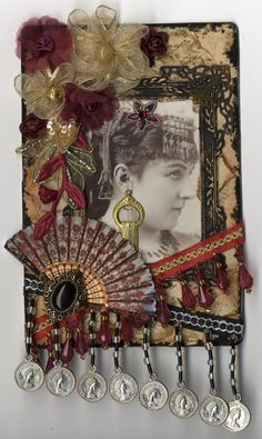 "Altered Cabinet Card - To see more of my art, signup to win my art, download free images, and learn new techniques checkout my Blog ""Artfully Musing"" at http://artfullymusing.blogspot.com"