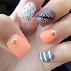 nailart nail, peach grey, super cute nails, funky nail art, nail designs, summer nails, nail arts, grey nail, feather nails