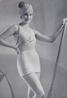 Vintage 1930s Swimsuit Knitting Pattern and Crochet Hat Pattern