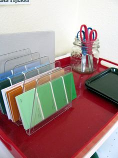 ART:  cutting paint samples...easy way to introduce cutting on a line.