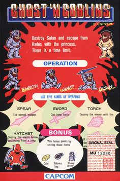 Ghosts 'N Goblins arcade instructions #gaming #capcom #ghostngoblins #arcade
