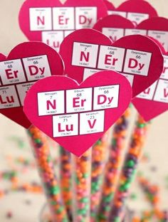 """Nerdy Luv"" Periodic Table Valentines free printable, for Nerds candy."