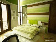 Green + brown bedroom