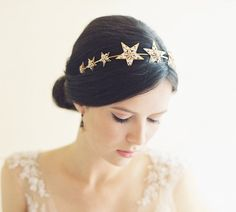 star filigre, bridal headband, jewel star