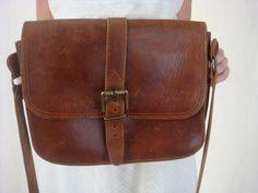 Vintage Brown Leather Purse Messenger Bag by VintageGriffin, $37.00